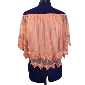 Love J Salmon Pink Lace Off Shoulder Top